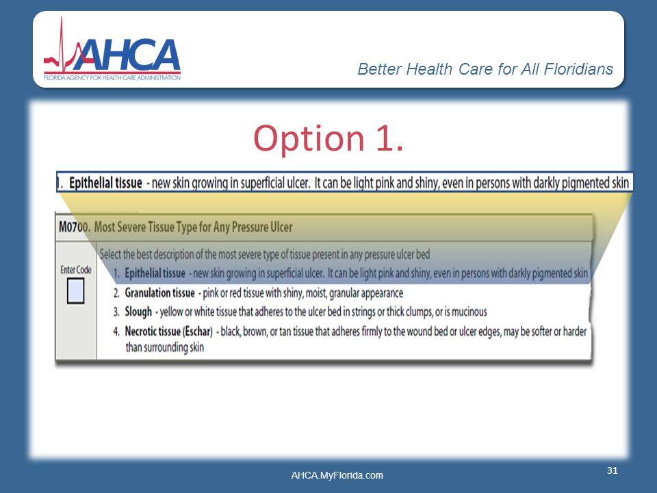 Better Health Care for All Floridians AHCA.MyFlorida.com Option 1. 31