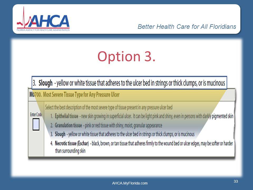 Better Health Care for All Floridians AHCA.MyFlorida.com Option 3. 33