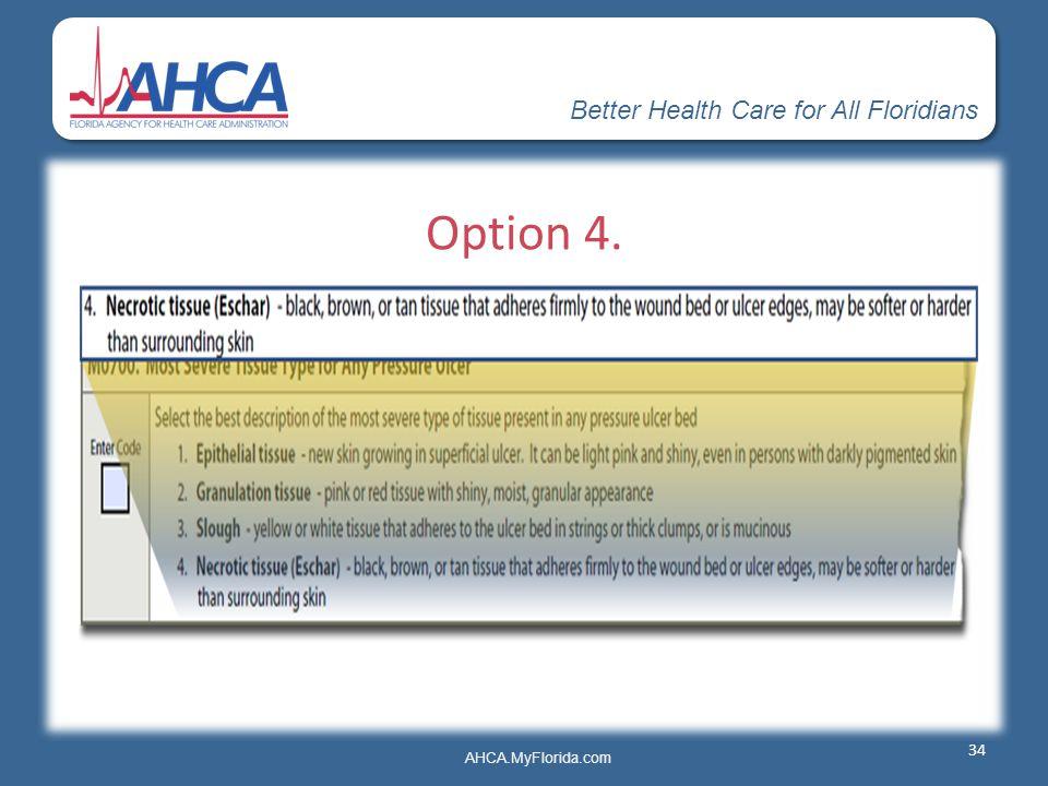 Better Health Care for All Floridians AHCA.MyFlorida.com Option 4. 34