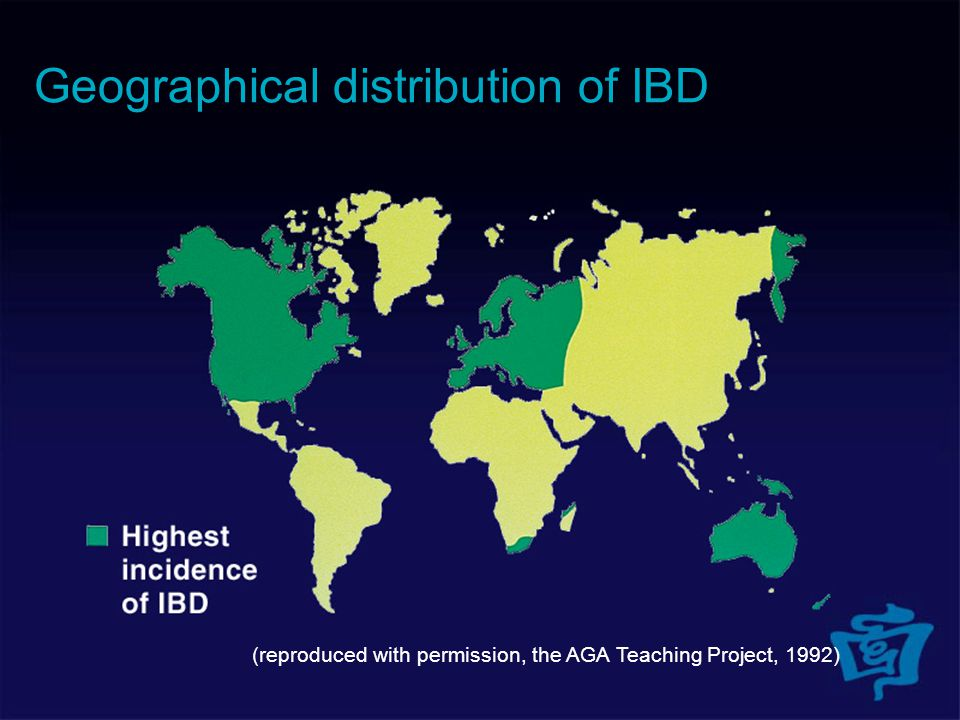 (reproduced with permission, the AGA Teaching Project, 1992) Geographical distribution of IBD