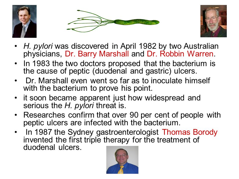 H. pylori was discovered in April 1982 by two Australian physicians, Dr.