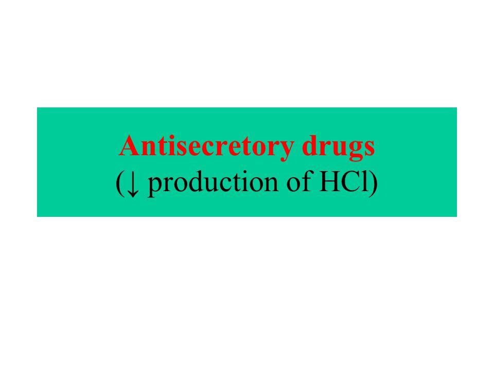 Antisecretory drugs (↓ production of HCl)