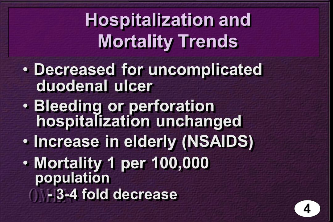 Hospitalization and Mortality Trends Decreased for uncomplicated duodenal ulcer Bleeding or perforation hospitalization unchanged Increase in elderly (NSAIDS) Mortality 1 per 100,000 population - 3-4 fold decrease Decreased for uncomplicated duodenal ulcer Bleeding or perforation hospitalization unchanged Increase in elderly (NSAIDS) Mortality 1 per 100,000 population - 3-4 fold decrease 4