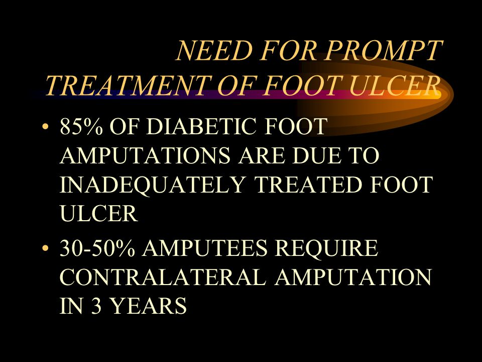 NEED FOR PROMPT TREATMENT OF FOOT ULCER 85% OF DIABETIC FOOT AMPUTATIONS ARE DUE TO INADEQUATELY TREATED FOOT ULCER 30-50% AMPUTEES REQUIRE CONTRALATE