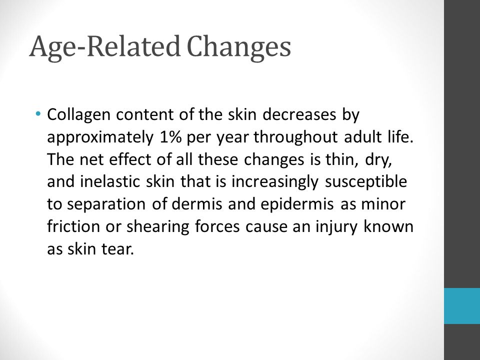 Age-Related Changes Collagen content of the skin decreases by approximately 1% per year throughout adult life. The net effect of all these changes is