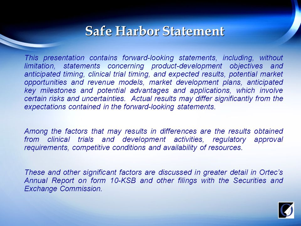 Safe Harbor Statement This presentation contains forward-looking statements, including, without limitation, statements concerning product-development objectives and anticipated timing, clinical trial timing, and expected results, potential market opportunities and revenue models, market development plans, anticipated key milestones and potential advantages and applications, which involve certain risks and uncertainties.