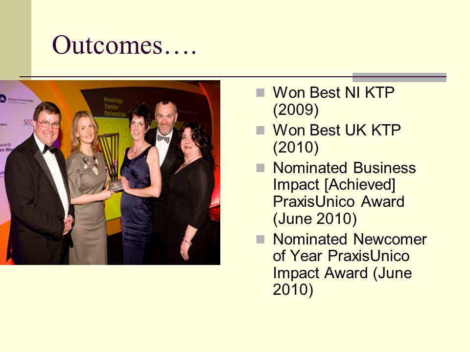Outcomes…. Won Best NI KTP (2009) Won Best UK KTP (2010) Nominated Business Impact [Achieved] PraxisUnico Award (June 2010) Nominated Newcomer of Year