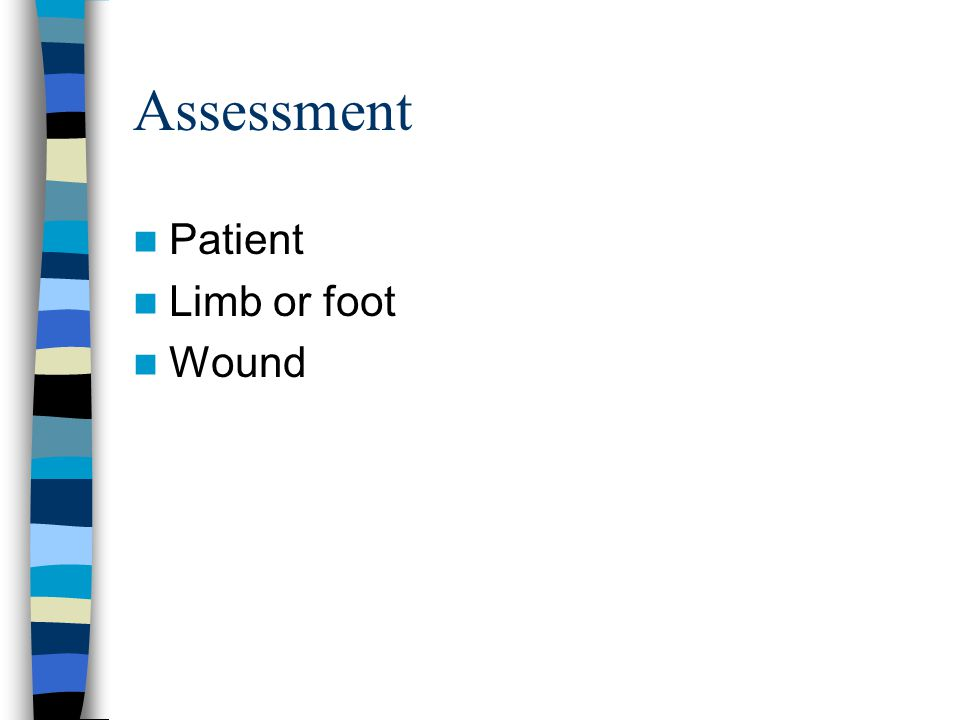 Assessment Patient Limb or foot Wound