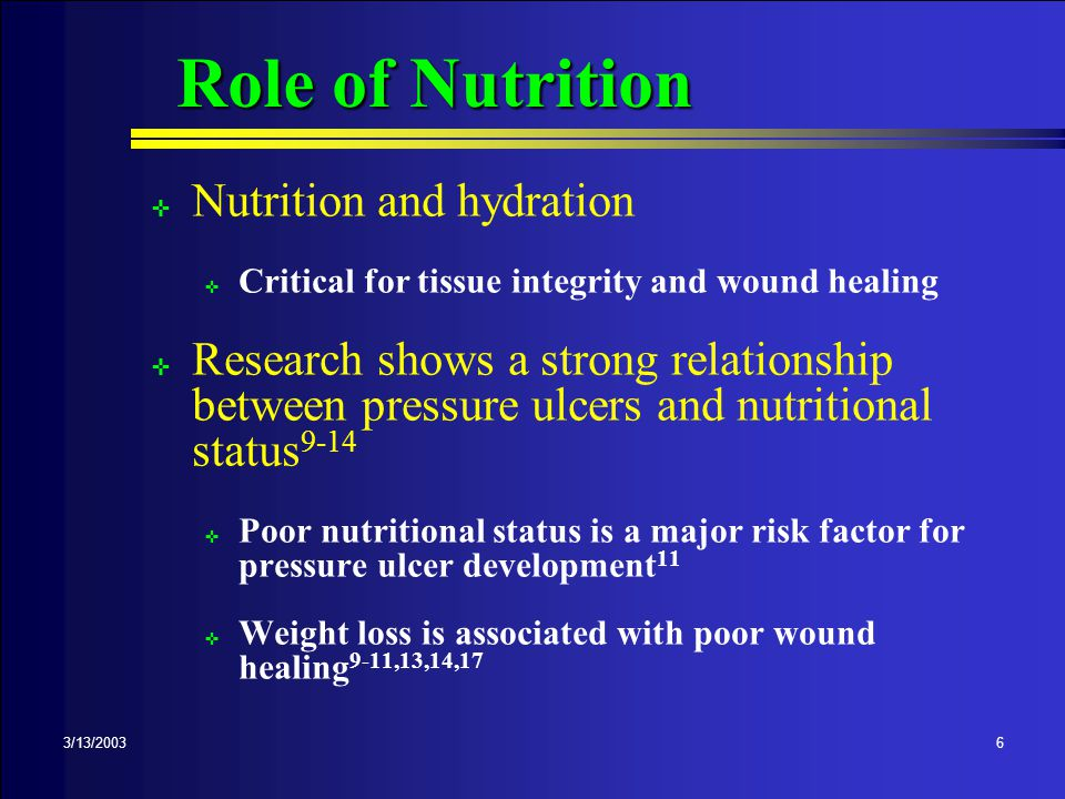 Nutrition is VERY Important ; Assist with meals, snacks and hydration ; Document amount of intake ; Notify nurse if patient does not eat or has trouble eating