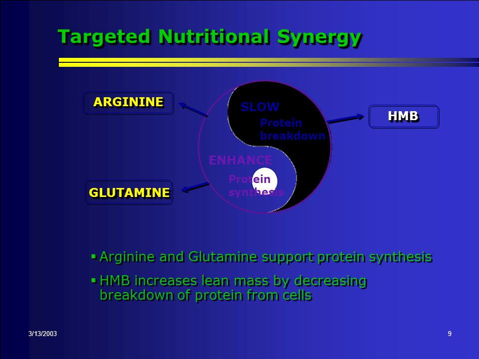 3/13/20038 Catabolic State - Stress Response ; Amplified 'fight-or-flight' reaction ; Increased stress hormones ; Hypermetabolic-catabolic state ; Impairs ability to synthesize new tissue ; Energy demands increase ; Rapidly deplete lean body mass (LBM) ; Calories and protein alone not enough
