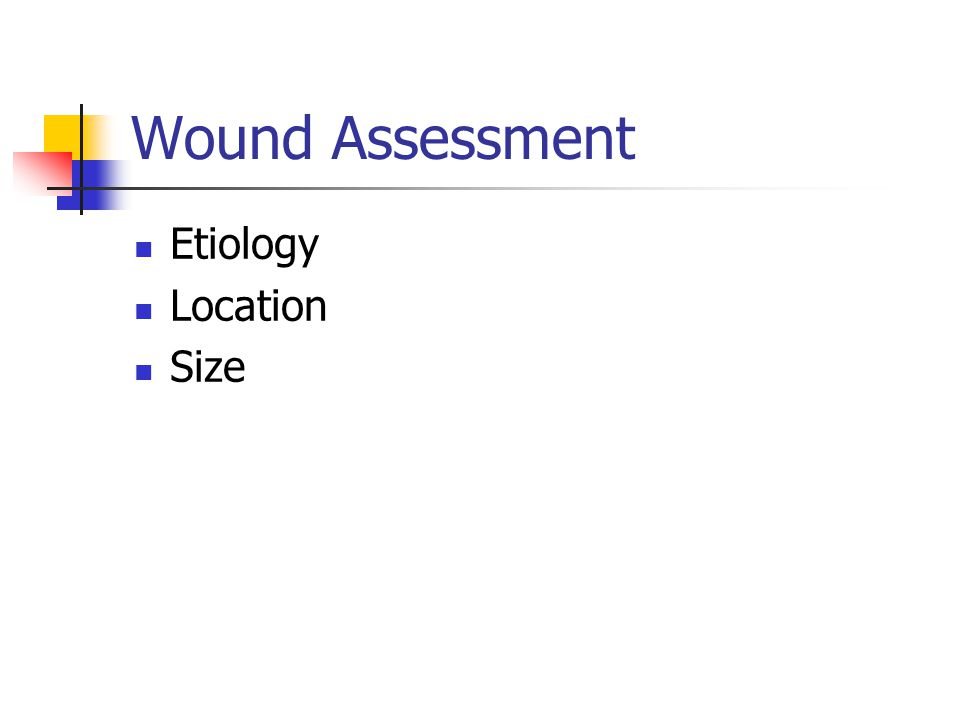 Wound Assessment Etiology Location Size