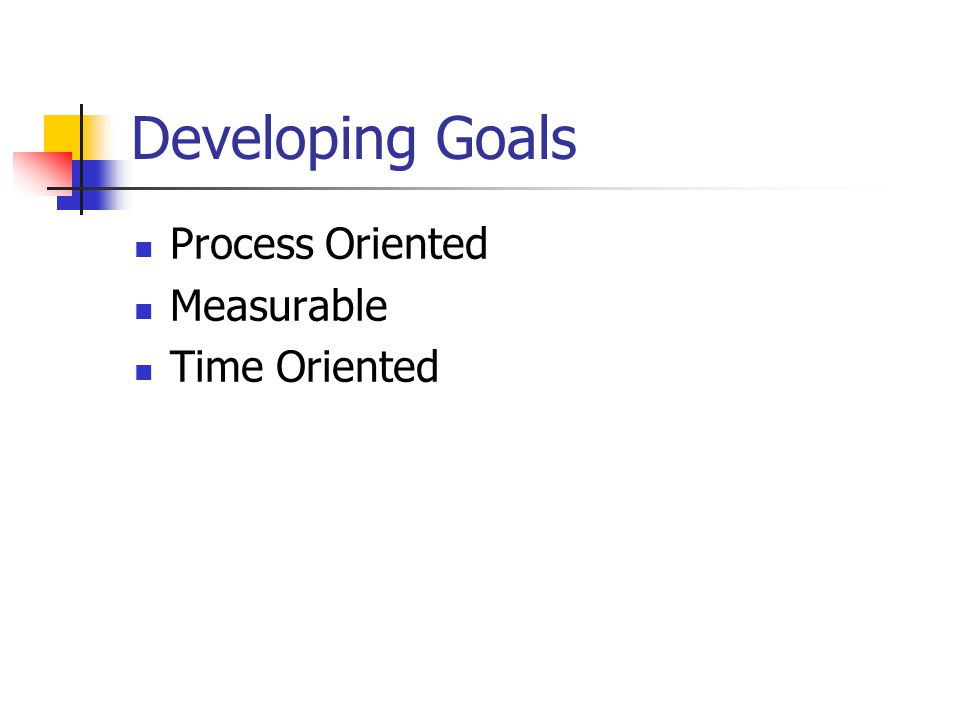Developing Goals Process Oriented Measurable Time Oriented
