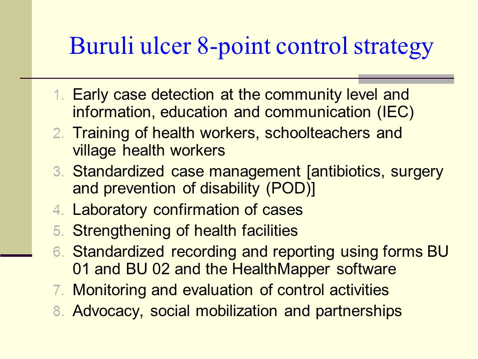 Buruli ulcer 8-point control strategy 1.