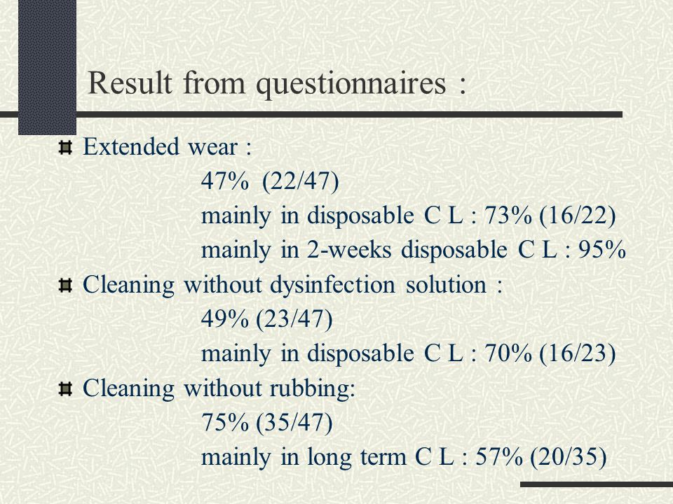 Result from questionnaires : Extended wear : 47% (22/47) mainly in disposable C L : 73% (16/22) mainly in 2-weeks disposable C L : 95% Cleaning withou