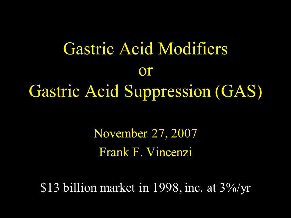 Gastric Acid Modifiers or Gastric Acid Suppression (GAS) November 27, 2007 Frank F.
