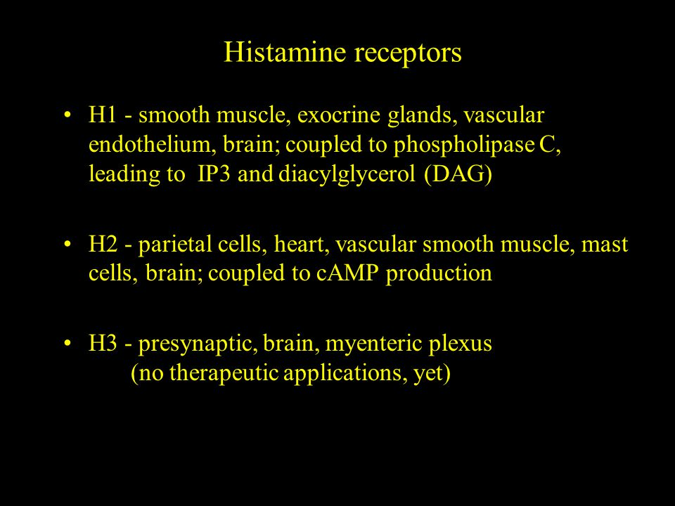 Histamine receptors H1 - smooth muscle, exocrine glands, vascular endothelium, brain; coupled to phospholipase C, leading to IP3 and diacylglycerol (DAG) H2 - parietal cells, heart, vascular smooth muscle, mast cells, brain; coupled to cAMP production H3 - presynaptic, brain, myenteric plexus (no therapeutic applications, yet)