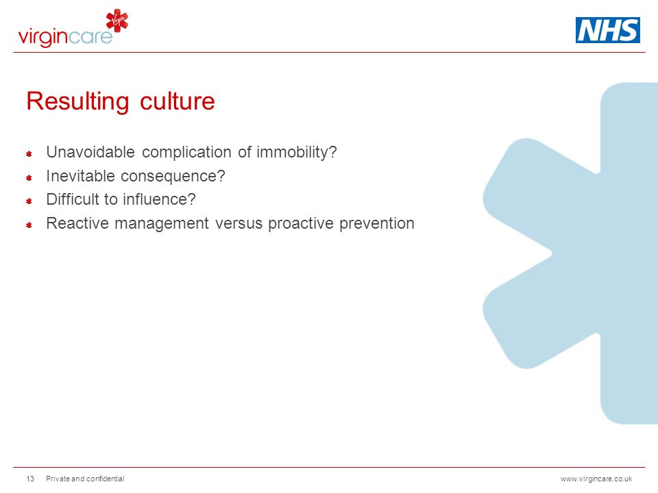 www.virgincare.co.uk Resulting culture Unavoidable complication of immobility? Inevitable consequence? Difficult to influence? Reactive management ver