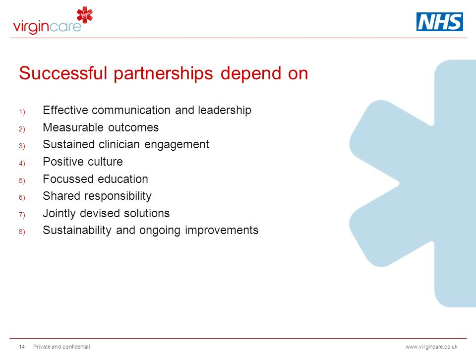 www.virgincare.co.uk Successful partnerships depend on 1) Effective communication and leadership 2) Measurable outcomes 3) Sustained clinician engagem