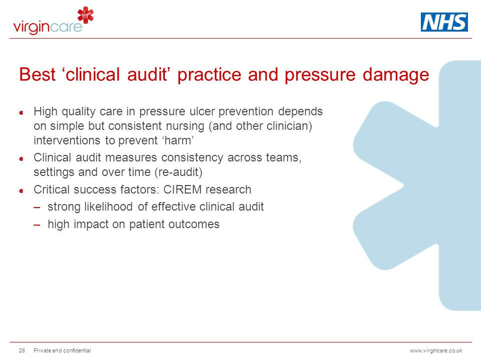 www.virgincare.co.uk Best 'clinical audit' practice and pressure damage High quality care in pressure ulcer prevention depends on simple but consisten