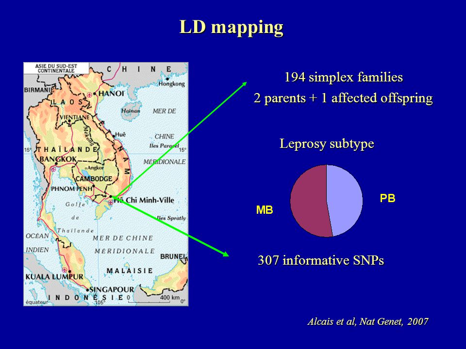 LD mapping Leprosy subtype 194 simplex families 2 parents + 1 affected offspring Alcais et al, Nat Genet, 2007 307 informative SNPs