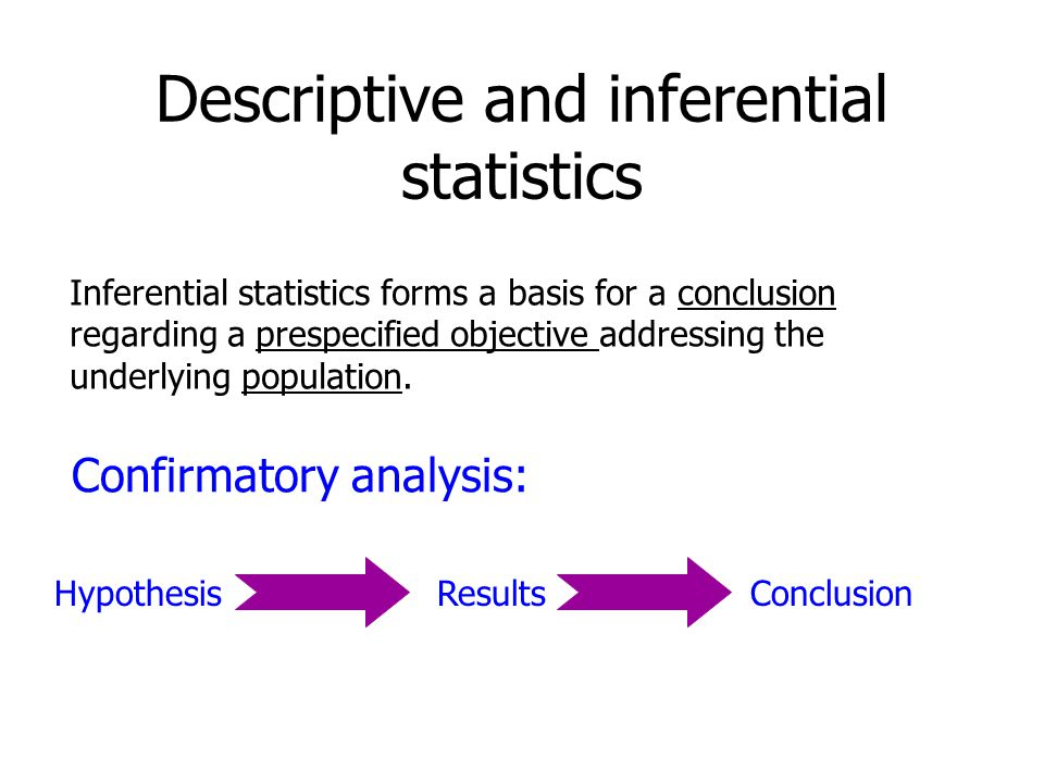 Descriptive and inferential statistics Inferential statistics forms a basis for a conclusion regarding a prespecified objective addressing the underlying population.