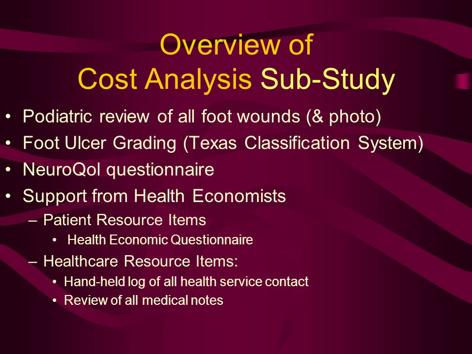 Overview of Cost Analysis Sub-Study Podiatric review of all foot wounds (& photo) Foot Ulcer Grading (Texas Classification System) NeuroQol questionnaire Support from Health Economists –Patient Resource Items Health Economic Questionnaire –Healthcare Resource Items: Hand-held log of all health service contact Review of all medical notes