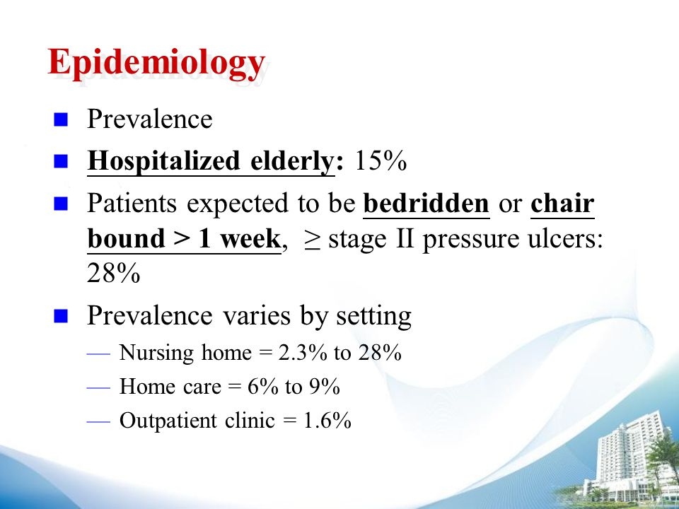 Epidemiology Prevalence Hospitalized elderly: 15% Patients expected to be bedridden or chair bound > 1 week, ≥ stage II pressure ulcers: 28% Prevalence varies by setting —Nursing home = 2.3% to 28% —Home care = 6% to 9% —Outpatient clinic = 1.6%