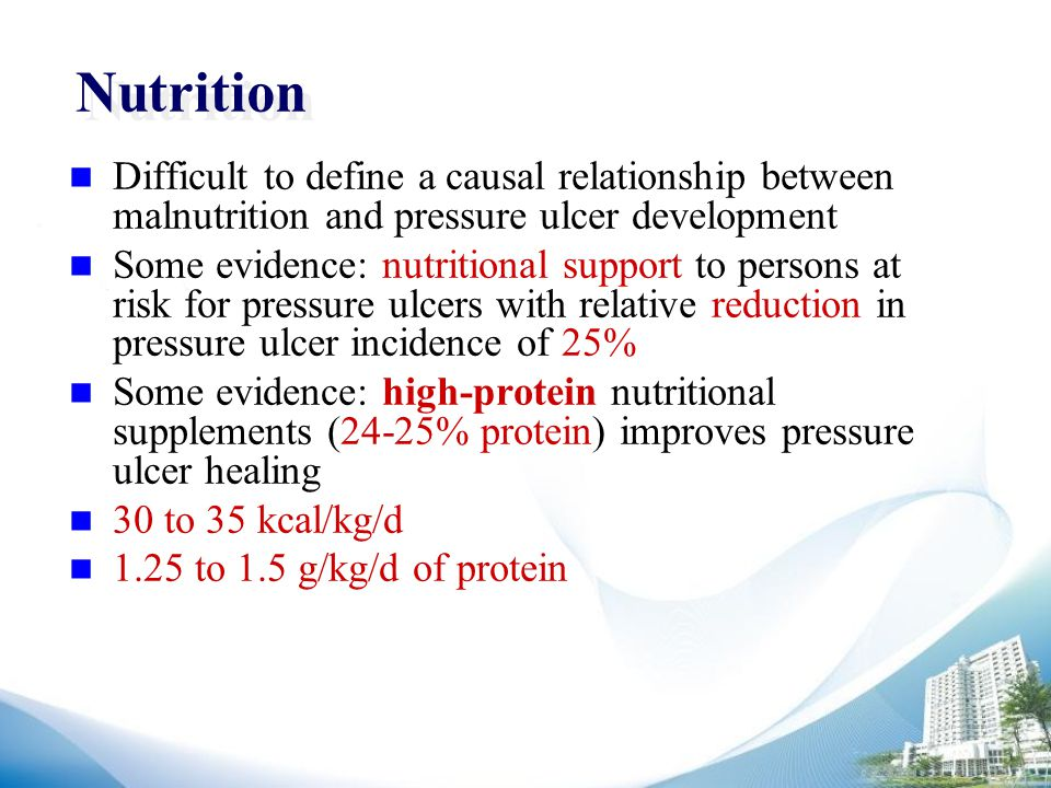 Nutrition Difficult to define a causal relationship between malnutrition and pressure ulcer development Some evidence: nutritional support to persons at risk for pressure ulcers with relative reduction in pressure ulcer incidence of 25% Some evidence: high-protein nutritional supplements (24-25% protein) improves pressure ulcer healing 30 to 35 kcal/kg/d 1.25 to 1.5 g/kg/d of protein