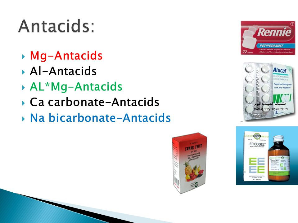  Mg-Antacids  Al-Antacids  AL*Mg-Antacids  Ca carbonate-Antacids  Na bicarbonate-Antacids