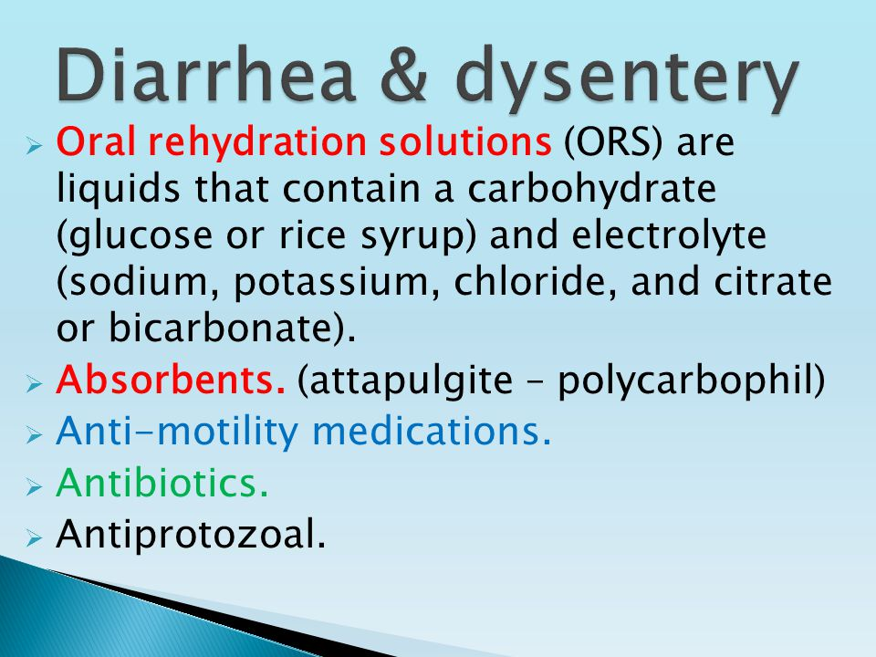  Oral rehydration solutions (ORS) are liquids that contain a carbohydrate (glucose or rice syrup) and electrolyte (sodium, potassium, chloride, and citrate or bicarbonate).