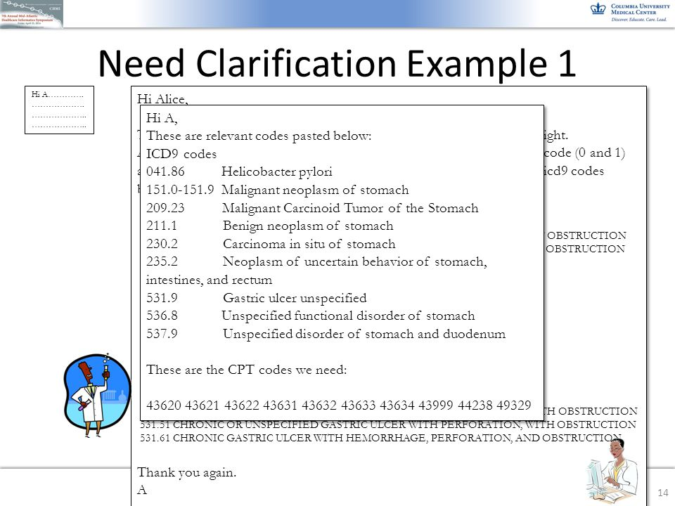 Need Clarification Example 1 14 Hi Alice, Thank you very much for your help. I just want to make sure I get it right. About the code 531.9 from your l