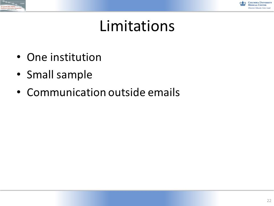 Limitations One institution Small sample Communication outside emails 22