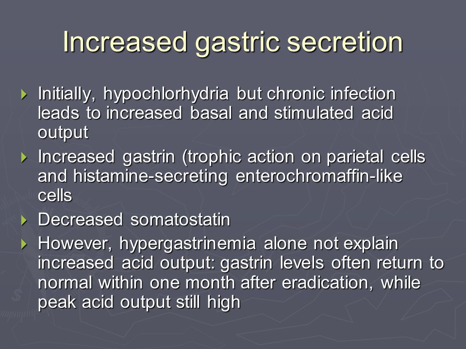 Increased gastric secretion  Initially, hypochlorhydria but chronic infection leads to increased basal and stimulated acid output  Increased gastrin (trophic action on parietal cells and histamine-secreting enterochromaffin-like cells  Decreased somatostatin  However, hypergastrinemia alone not explain increased acid output: gastrin levels often return to normal within one month after eradication, while peak acid output still high