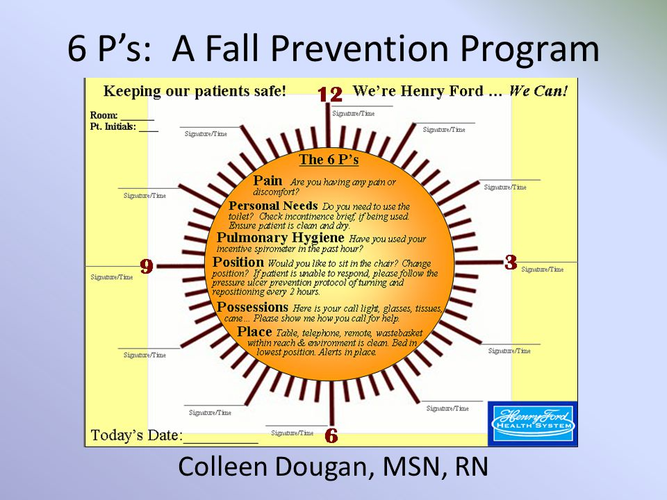 6 P's: A Fall Prevention Program Colleen Dougan, MSN, RN