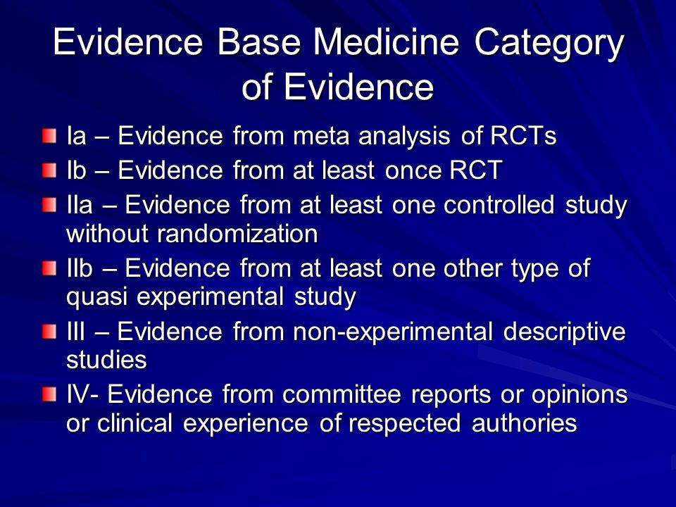 Evidence Base Medicine Category of Evidence Ia – Evidence from meta analysis of RCTs Ib – Evidence from at least once RCT IIa – Evidence from at least one controlled study without randomization IIb – Evidence from at least one other type of quasi experimental study III – Evidence from non-experimental descriptive studies IV- Evidence from committee reports or opinions or clinical experience of respected authories