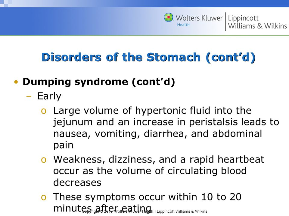 Copyright © 2010 Wolters Kluwer Health | Lippincott Williams & Wilkins Disorders of the Stomach (cont'd) Dumping syndrome (cont'd) –Early oLarge volum