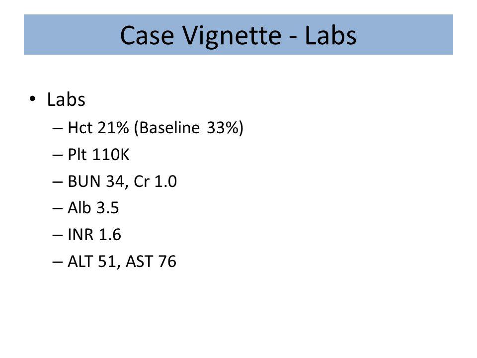 Case Vignette - Labs Labs – Hct 21% (Baseline 33%) – Plt 110K – BUN 34, Cr 1.0 – Alb 3.5 – INR 1.6 – ALT 51, AST 76