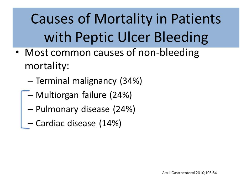 Causes of Mortality in Patients with Peptic Ulcer Bleeding Most common causes of non-bleeding mortality: – Terminal malignancy (34%) – Multiorgan fail