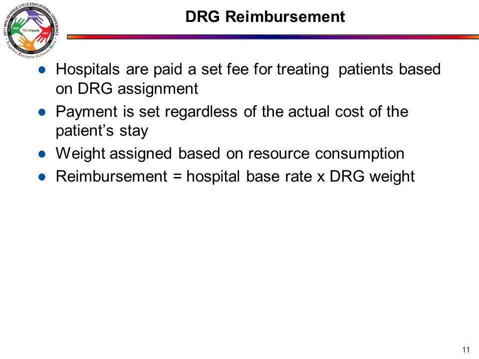 DRG Reimbursement Hospitals are paid a set fee for treating patients based on DRG assignment Payment is set regardless of the actual cost of the patient's stay Weight assigned based on resource consumption Reimbursement = hospital base rate x DRG weight 11