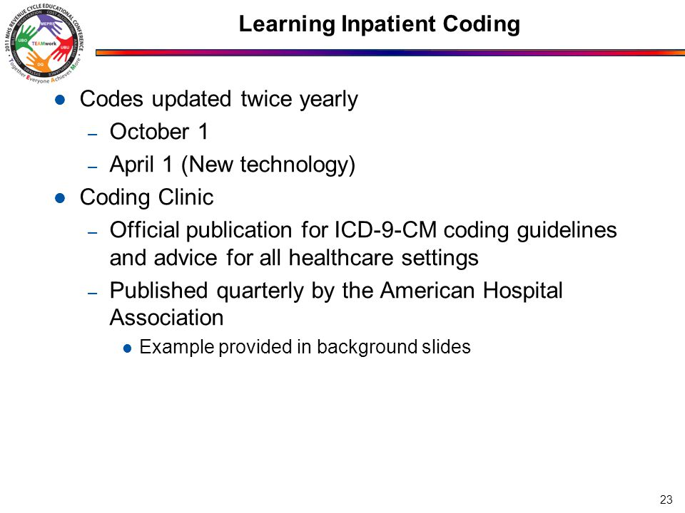 Learning Inpatient Coding Codes updated twice yearly – October 1 – April 1 (New technology) Coding Clinic – Official publication for ICD-9-CM coding guidelines and advice for all healthcare settings – Published quarterly by the American Hospital Association Example provided in background slides 23