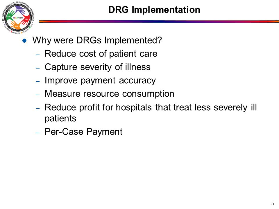 DRG Implementation Why were DRGs Implemented.