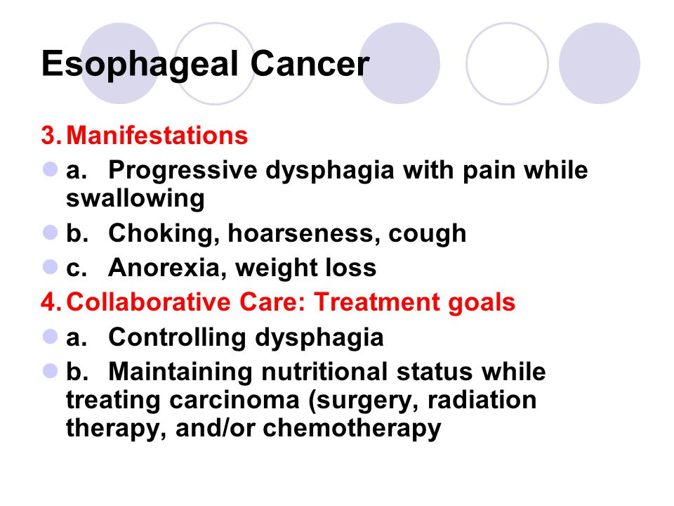 Esophageal Cancer 3.Manifestations a.Progressive dysphagia with pain while swallowing b.Choking, hoarseness, cough c.Anorexia, weight loss 4.Collaborative Care: Treatment goals a.Controlling dysphagia b.Maintaining nutritional status while treating carcinoma (surgery, radiation therapy, and/or chemotherapy