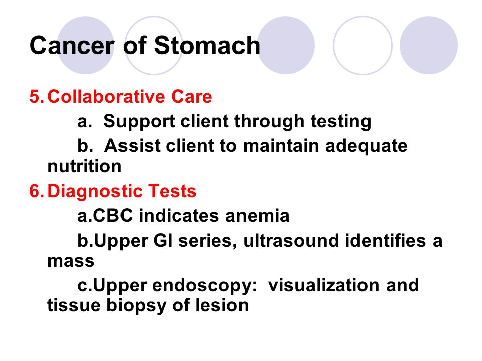 Cancer of Stomach 5.Collaborative Care a.Support client through testing b.