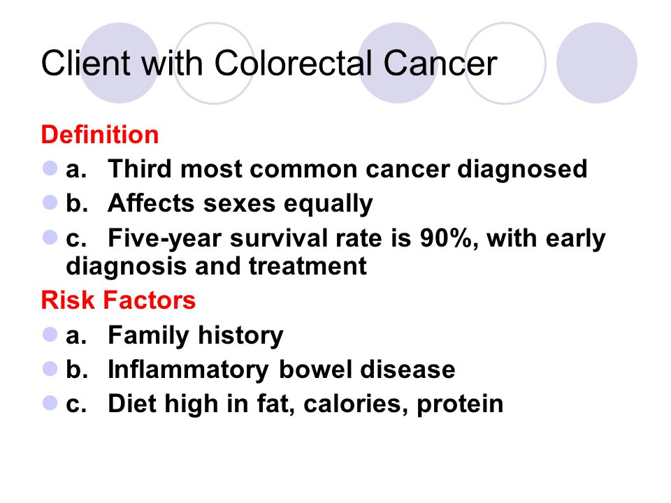 Client with Colorectal Cancer Definition a.Third most common cancer diagnosed b.Affects sexes equally c.Five-year survival rate is 90%, with early diagnosis and treatment Risk Factors a.Family history b.Inflammatory bowel disease c.Diet high in fat, calories, protein