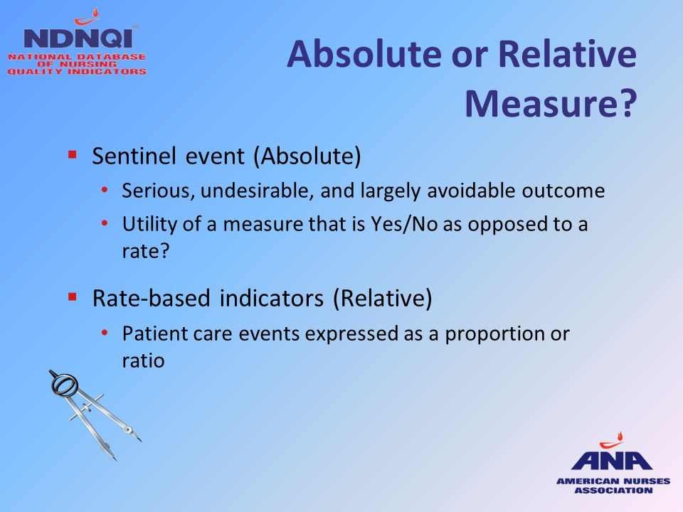 Absolute or Relative Measure?  Sentinel event (Absolute) Serious, undesirable, and largely avoidable outcome Utility of a measure that is Yes/No as o