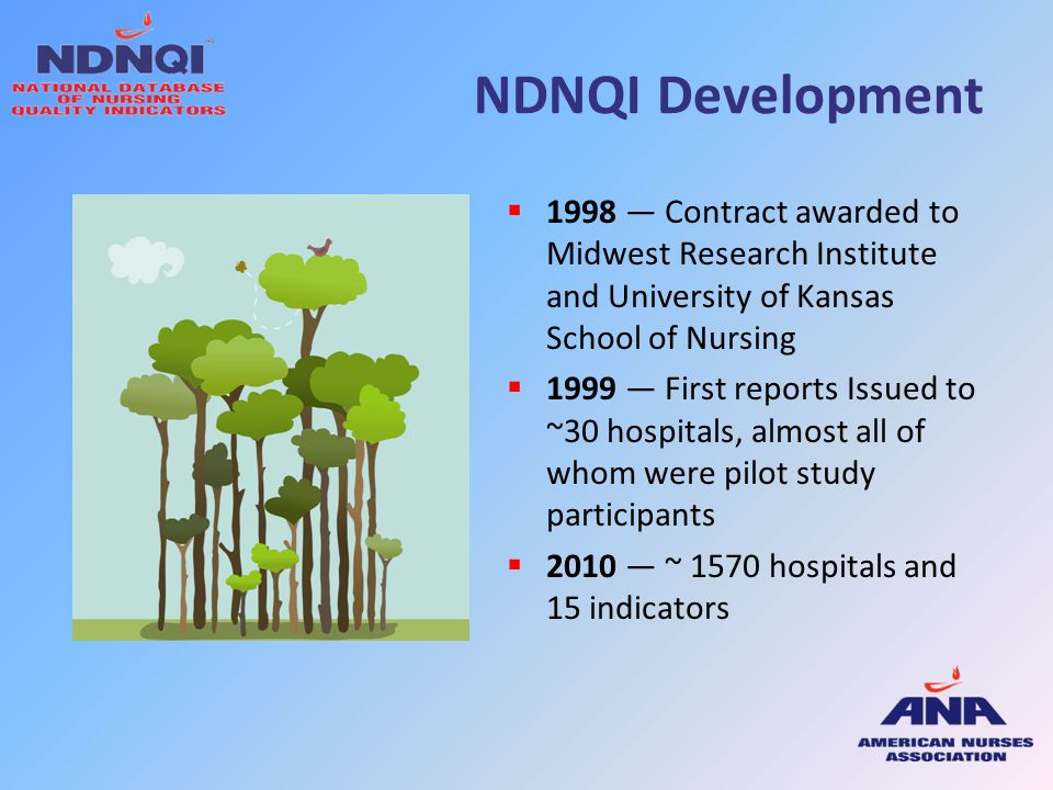 NDNQI Development  1998 — Contract awarded to Midwest Research Institute and University of Kansas School of Nursing  1999 — First reports Issued to