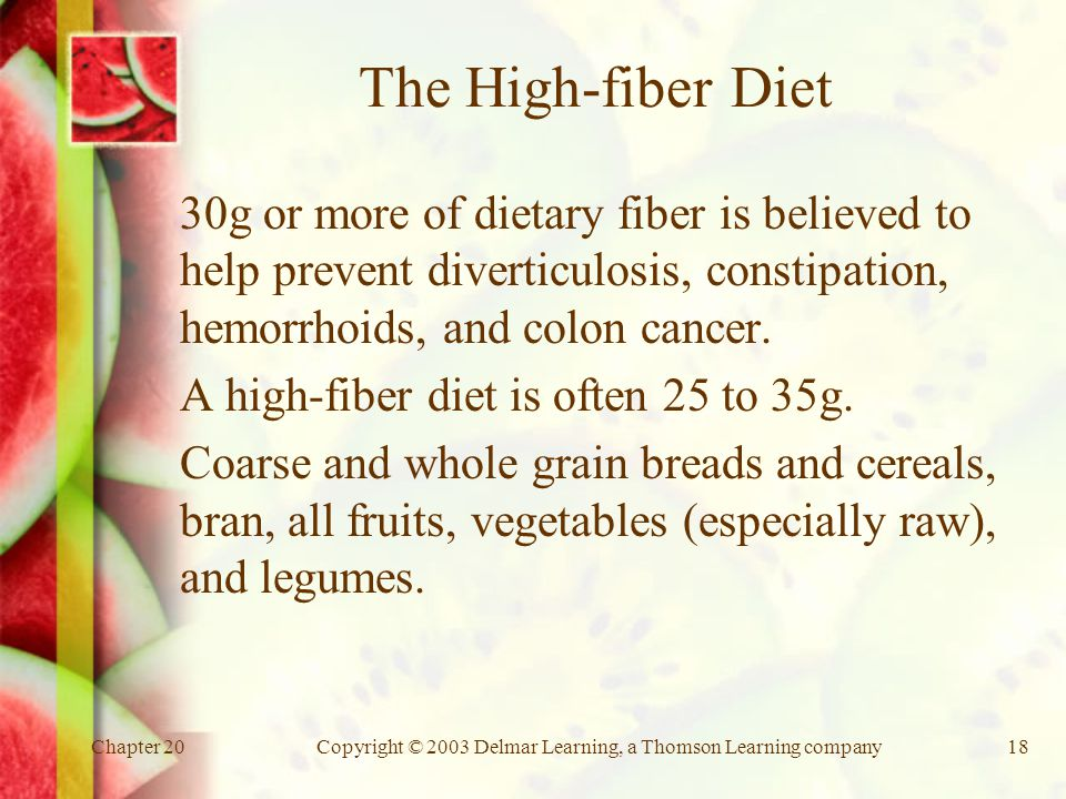 Chapter 20Copyright © 2003 Delmar Learning, a Thomson Learning company18 The High-fiber Diet 30g or more of dietary fiber is believed to help prevent diverticulosis, constipation, hemorrhoids, and colon cancer.