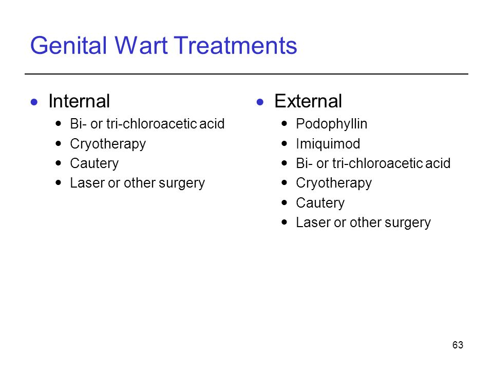 63 Genital Wart Treatments  Internal Bi- or tri-chloroacetic acid Cryotherapy Cautery Laser or other surgery  External Podophyllin Imiquimod Bi- or