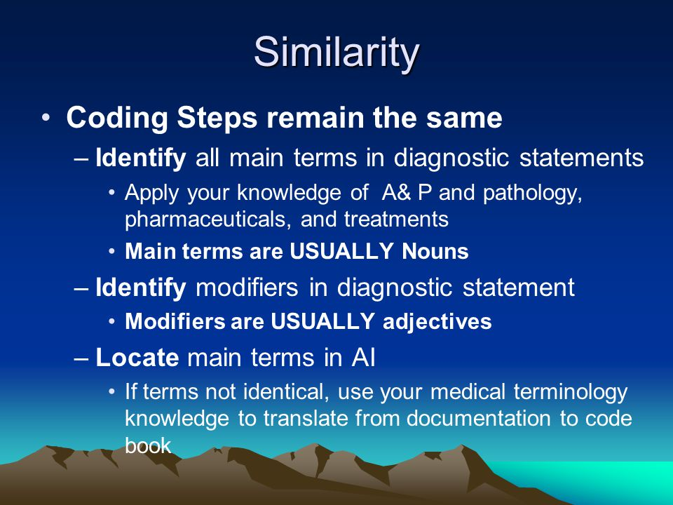 Coding Steps –Locate modifiers in subterms under main terms –Check for special instructions or cross-references –TENTATIVELY select a code –Turn to code category in TL –Check for any instructional notes for code category/chapter –Apply your knowledge of code book conventions –Assign code when all elements of dx statement accounted for and code verified in TL