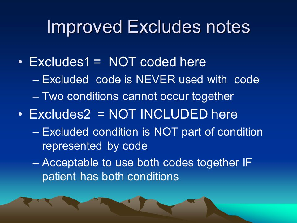 Excludes Notes Examples Excludes1: –allergy NOS T78.40 –contact dermatitis NOS L25.9 –dermatitis NOS L30.9 Excludes2: –allergic contact dermatitis L23.- –dermatitis due to substances taken internally L27.- –dermatitis of eyelid H01.1- –diaper dermatitis L22 –eczema of external ear H60.5- –perioral dermatitis L71.0 –radiation-related disorders of skin and subcutaneous tissue L55-L59 L 24 Irritant contact dermatitis